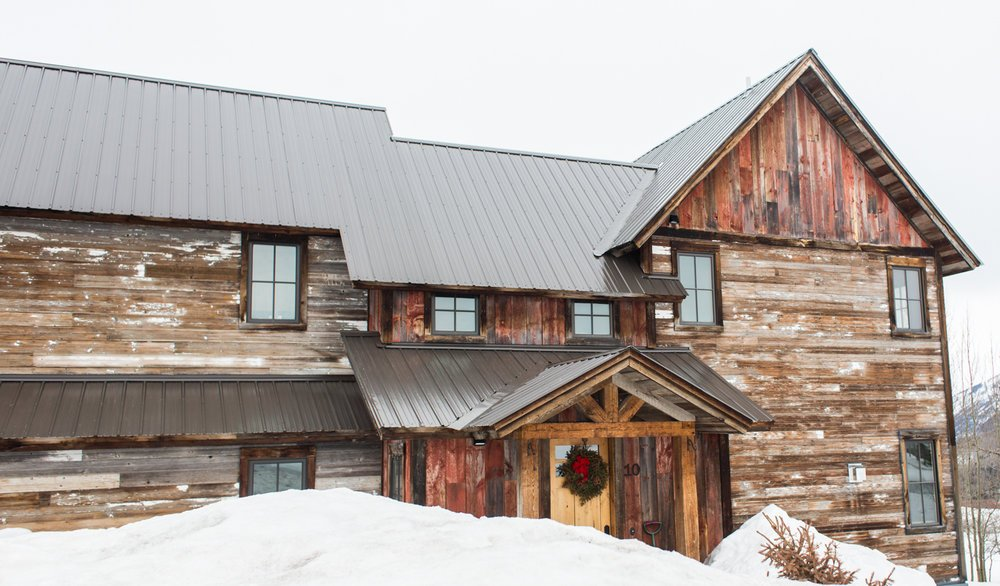 Reclaimed wood home at Christmas