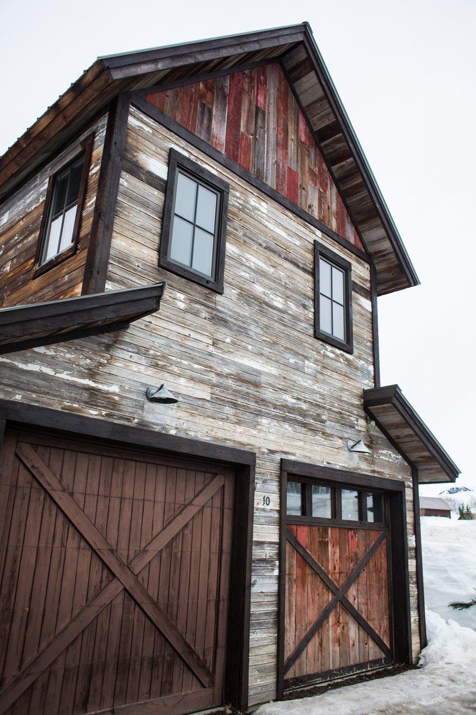 Reclaimed wood home garage side